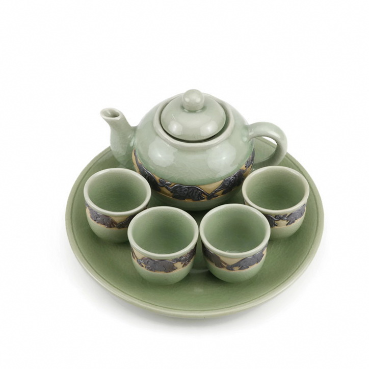 Chiangmai Celadon Ceramic Black Elephant Tea Set Silk Box
